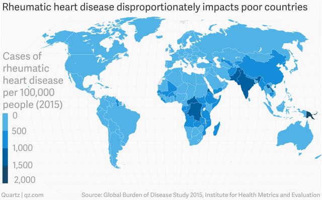 Tỷ lệ mắc bệnh viêm thấp khớp cấp trên mỗi 100.000 người năm 2015 trên toàn thế giới