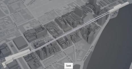 Hình ảnh 3 D đường, thế đi của hai hầm đoạn metro từ ga Ba Son đến ga nhà hát TP