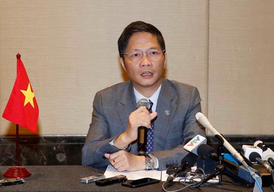 Bộ trưởng bộ Công Thương Trần Tuấn Anh tại buổi họp báo sau cuộc họp với bộ trưởng thương mại TPP sáng ngày 21/5